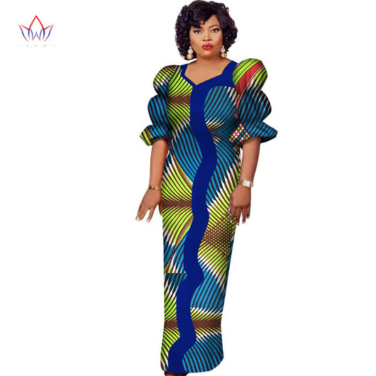 Made in China 2018 Fashion African Dresses for Women Dashiki Plus Size  African Clothes Bazin Riche Straight Party Dress WY2539