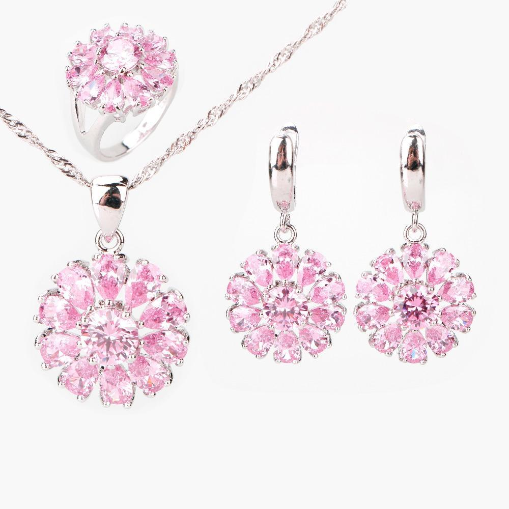 2017 Special Offer Trendy Drop Pink Cubic Zirconia 925 Sterling Silver Jewelry Sets Earrings/Pendant/Necklace/Rings For Women