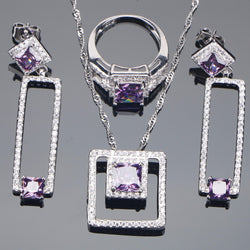 Bridal Jewelry Sets 925 Sterling Silver Purple CZ Stone Earrings For Women Bracelet Rings Pendant Necklace Set Gifts Jewelry Box