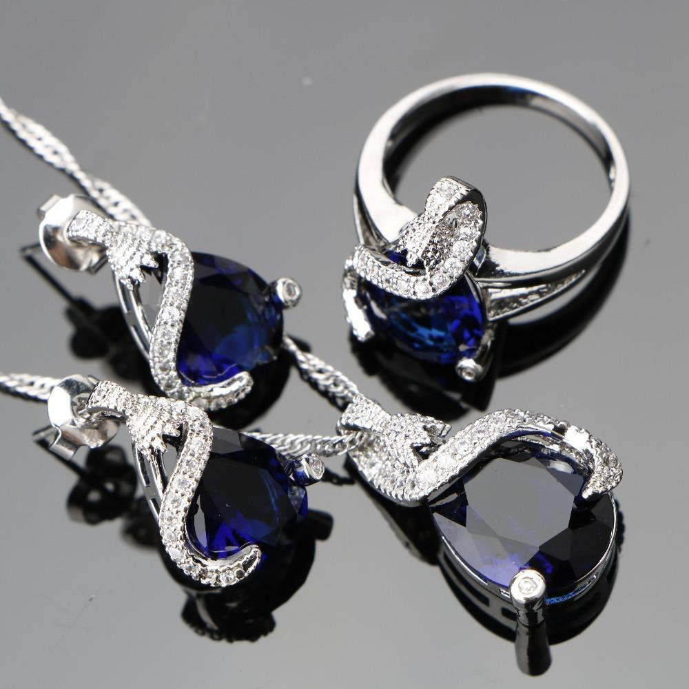 2017 New Blue CZ White Rhinestone Sterling Silver Jewelry Sets Silver 925 Stud Earrings/Pendant/Necklace/Rings For Women