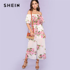 bee5400811 SHEIN Multicolor Vacation Bohemian Floral Print Flounce Layered Neck Boxed  Pleated Wide Leg Summer Casual Jumpsuit ...