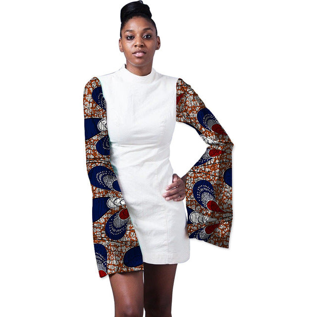 60c1ee50c8a Bright Wax Print Patchwork African Ankara Party Dress Ladies White Dress  Wide Sleeve Stand Collar Dashiki Dresses For Wedding