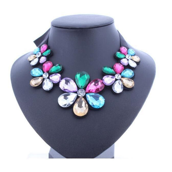 10 pieces Colorful beads Bohemia Jewelry Crystal Flower Chokers Necklace Pendant