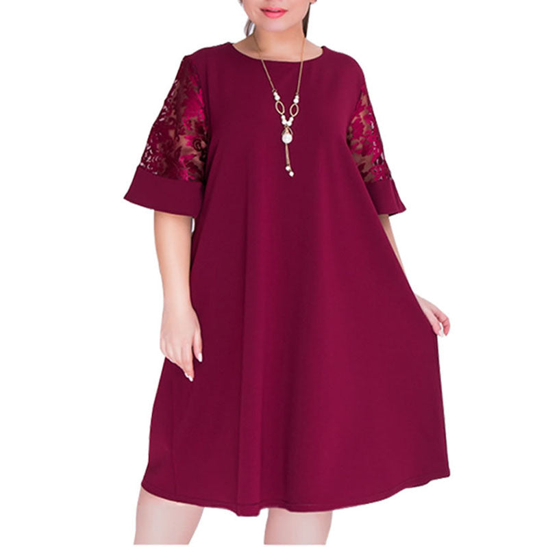 Plus Size Women Dress 2018 Summer Sexy Lace Dresses Casual Loose Half Sleeve O Neck Mesh Patchwork Mid Calf Vestidos