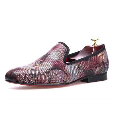 Fashion Flower Pattern Men Loafers Red Insole And Red Bottom Men Shoes Party And Wedding Men Dress Shoes Men S Flats