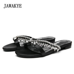 2018 Rhinestone Luxury Satin Slippers Women Open Toe Flat Shoes Woman Fashion Gladiator Sandals