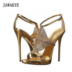 4c23067ed3c 2018 Bling Rhinestone Gladiator Sandals Woman Open Toe Gold Black Silver  Real Leather High Heel Shoes ...