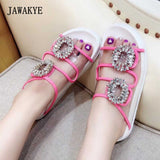 2018 PVC Transparent Shoes Woman Open Toe Rhinestone Buckle Thick Bottom Gladiator Sandals Women Slipper Beach Shoes