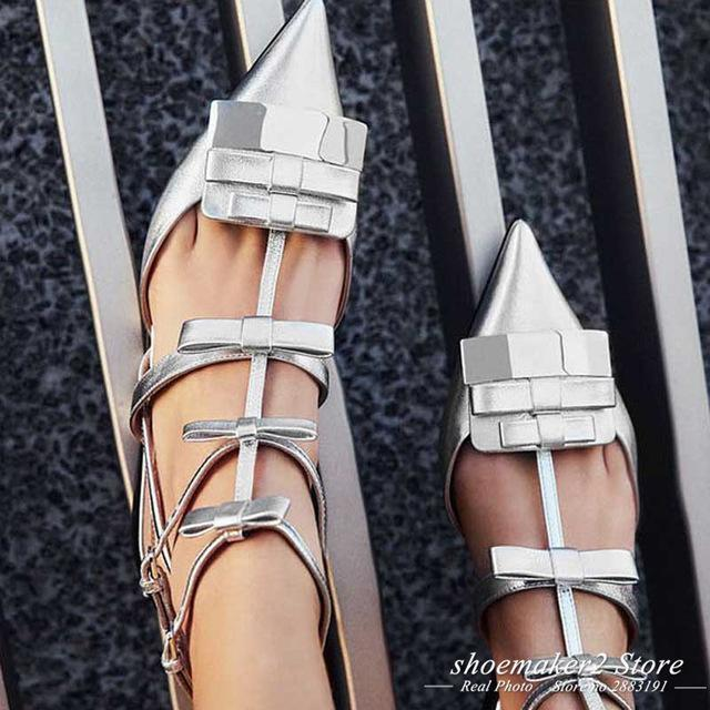 e4f7eaaf15e ... 2018 Luxury Satin Bow Gladiator Sandals Woman Pointed Toe Metal Decor  Three Belt Ankle Strap Flat