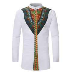 Mens Hipster African Print Dashiki Dress Shirt 2018 Brand New Tribal Ethnic Shirt Men Long Sleeve Shirts Africa Clothing Camisa