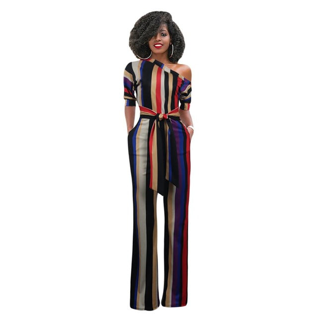 86cb2b38a793 Hover to zoom. PrevNext. Image of Sexy multi stripe women jumpsuit ...