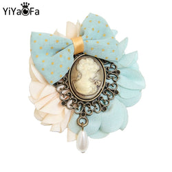 YiYaoFa Handmade Jewelry Vintage Head Bow Brooch for Girl Corsage Pin Antique Brooch Buckle Women Party Accessories YBR-07