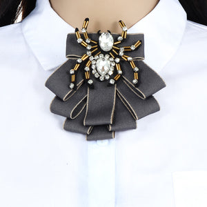 c0be74ef2 ZHINI Luxury Bow Brooches For Women Shirt Dress Fabric Bowknot Tie Corsage  Broche Luxury Rhinestone Brooch ...
