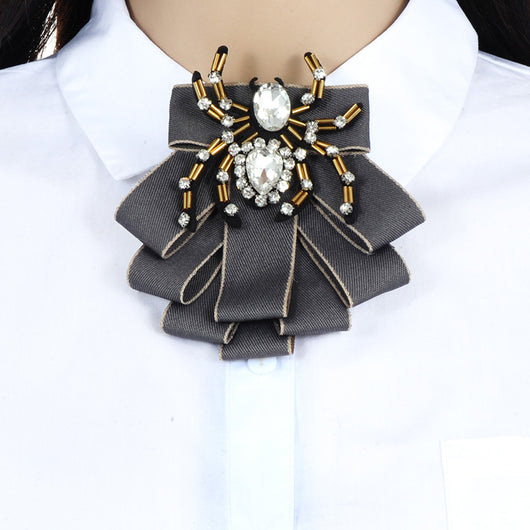 ZHINI Luxury Bow Brooches For Women Shirt Dress Fabric Bowknot Tie Corsage Broche Luxury Rhinestone Brooch Pins Wedding Jewelry