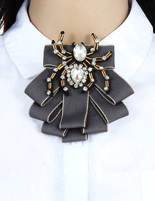 fe57898db12 Hover to zoom · ZHINI Luxury Bow Brooches For Women Shirt Dress Fabric  Bowknot Tie Corsage Broche Luxury Rhinestone Brooch