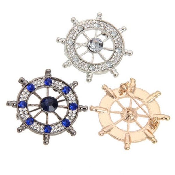 2018  Hot Euramerican Alloy Crystal Boat Rudder Anchor Suit Brooches Men Clothing Accessories Fashion Jewelry