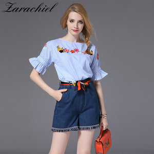 dffbd175 Flower Embroidery Striped Shirt Top + Empire Denim Shorts 2018 Summer Flare  Sleeve Blouse Woman Sets ...