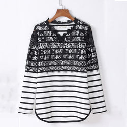 2017 Spring New Fashion Women Tops Lace Patchwork Stripe Knitted Ladies T-Shirt Casual Loose Style M- 4XL Plus Size Clothing