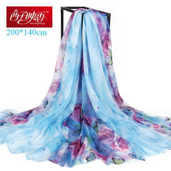 200*140cm New 2018 Bandan Scarf Women Fashion Silk Scarf Luxury Women Brand Bandana Scarves for Women Shawl Summer Beach Wraps