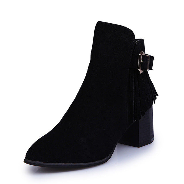 4095b48d1ce Fashion Women Fringe Ankle Boots Autumn Female Round Toe High Heels New  Winter Waterproof Martin Boots Woman Shoes zapatos mujer