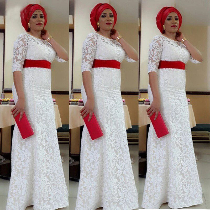 Lace Nigeria Formal Dress Aso Ebi Style South African Mermaid White Gowns  Plus Size Formal Party ... c9bcbc044a98