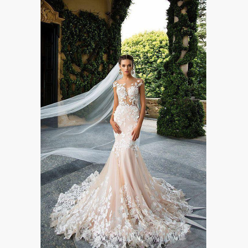 b1f807fb54174 Sweet 3D Flower Lace Wedding Gowns 2018 Sexy Backless Mermaid Long ...