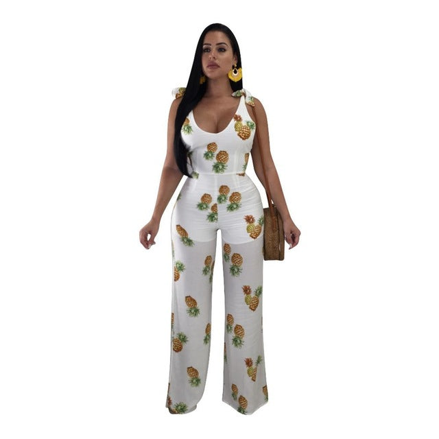91aff9db5855 jumpsuits for women 2018 Sleeveless Pineapple Print Sexy Long ...