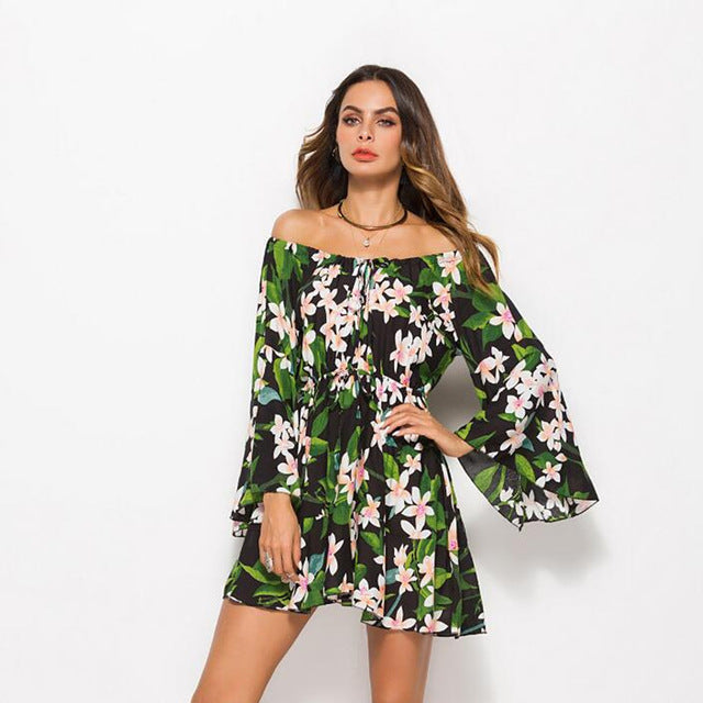 6e95cfa91d711e ... Sexy Lace Up Floral Print Short Dress Women Long Sleeve Off Shoulder  Loose Dress 2018 Spring ...