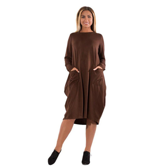 fa55631fb5be ... Winter Dresses warm velvet Dress big casual loose Women. Hover to zoom