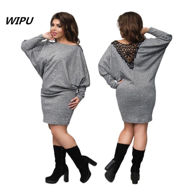 98ac0efe3f1d Hover to zoom · 6XL Large Size2018Winter dress plus size christmas party  dress batwing sleeve knitted bodycon ...