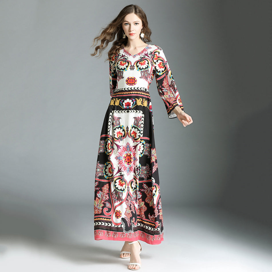 5a78afab7c04d Runway Designer Dresses Spring Autumn Long Maxi Dress Women High Quality  Flare Sleeve Printed Vintage Party Dresses Robe Femme