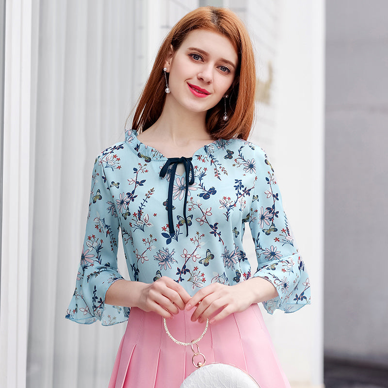 f883ef5d64 2018 Women Chiffon Blouse Summer Tops Ladies Casual Floral Print Blouses  Shirts Plus Size Ruffle Blusas ...