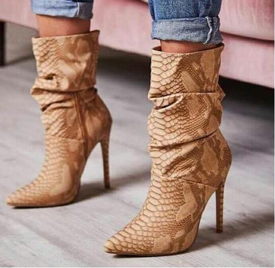 a9bc966efea9 Sexy Woman Snakeskin Print Leather Ankle Boots Pointed Toe High Heels  Wrinkled Skin Ridding Boots Big ...