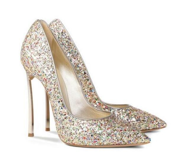 9fb9a6dba164 ... Sexy Bling Bling Sequin Blade Heel Pump Pointed Toe Slip-on Women High  Heel Dress ...