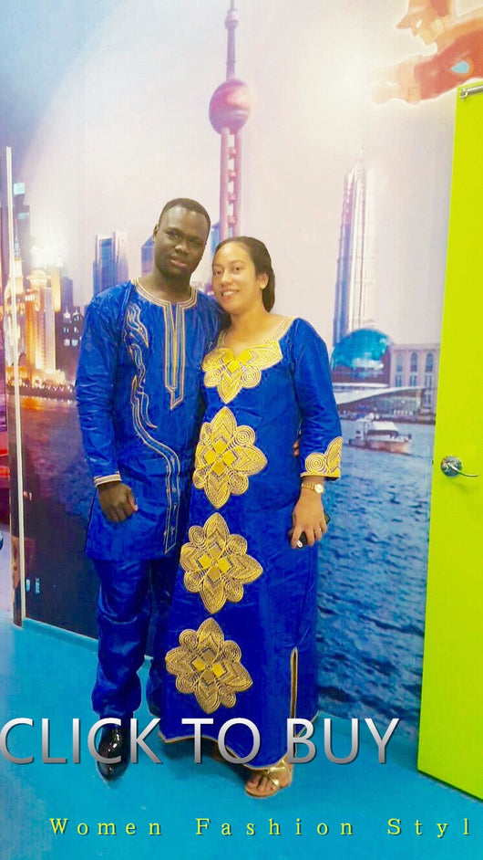 African Couple and Single clothing Ankara Brocade Kaftan Lady Long Dress with Headwrap + Men Long Sleeve and Pant - Owame