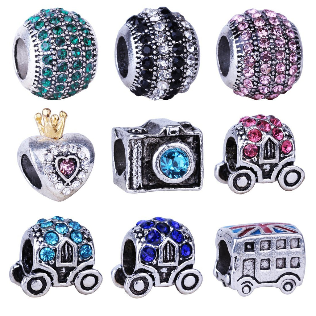 1Piece Rhinestone Princess Heart Camera Charms European Fashion DIY Beads Silver Alloy Bead Fit Pandora Bracelets & Necklace