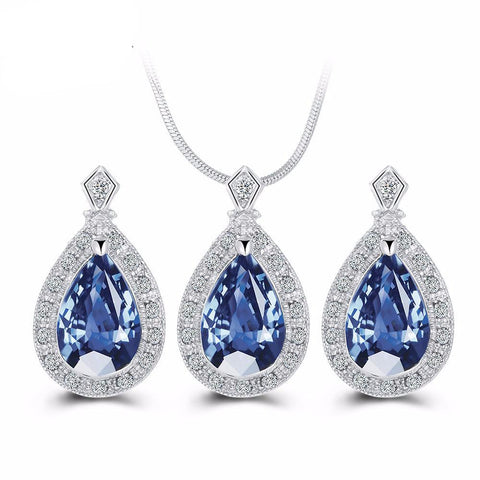 Blue Crystal Water Drop Jewelry Set Statement - Owame