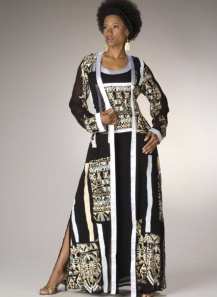New Ashro Black Gold Ethnic African American Pride Zola Jacket Dress