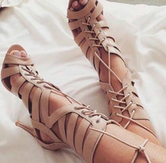 Women High Stiletto Heel Roman Sandals Hollow out Open Toe Summer Boots Shoes