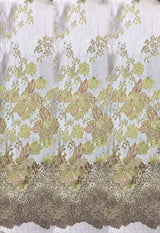5YDS - HIGH QUALITY FEATHERS BROCADE JACQUARD BRIDAL DRESS FABRIC