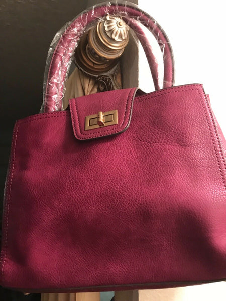 Purple Leather Handbag Crossbody Messenger Small Tote