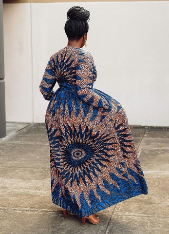 Women African print long Sleeve Evening Party full length Dress