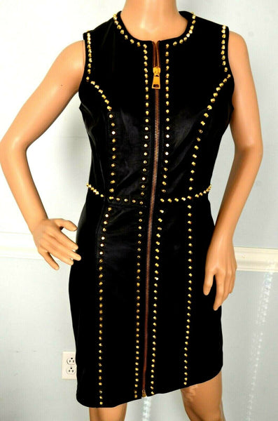 $3,500 Versus Versace Leather Stud Embellished Black Jacket Dress US 2 / IT 38