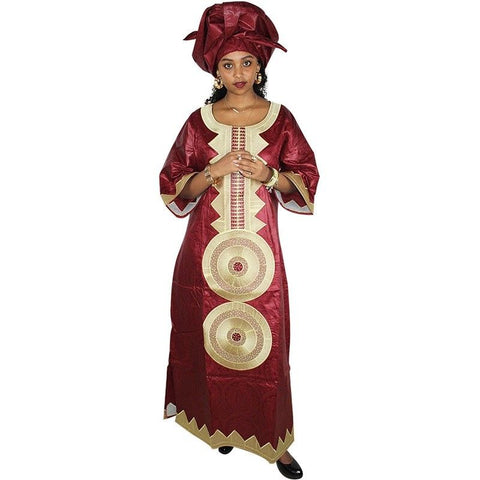 African Women Cloths Bazin Riche Caftan Dashiki Traditional Dress + Head Scarf