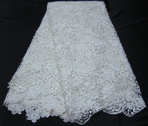 50% OFF CLEARANCE - WHITE-BLUISH FLORAL CORD GUIPURE LACE FABRIC