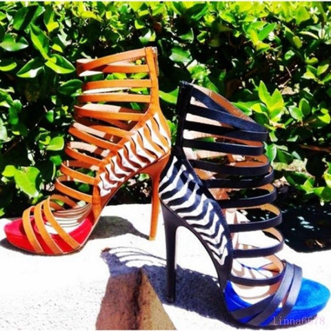 Roman Sexy Women High Stiletto Heel Shoes Hollow Out Sandals Open Toe Nightclub