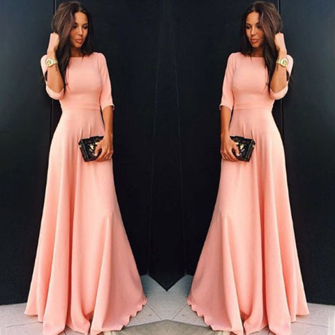 Beautiful Womens Long Chiffon 3/4 Sleeve Evening Formal Party Prom Gown Maxi Dress
