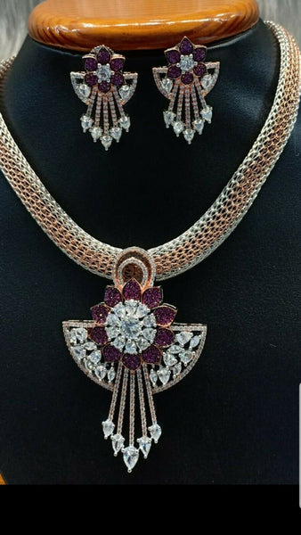 Fashionable Jewelry Set with Fuschia pink stones