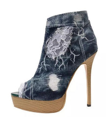 Womens Open Toe High Heel Lace Party Stilettos Denim Pumps SHoes ALL Us Sz 46