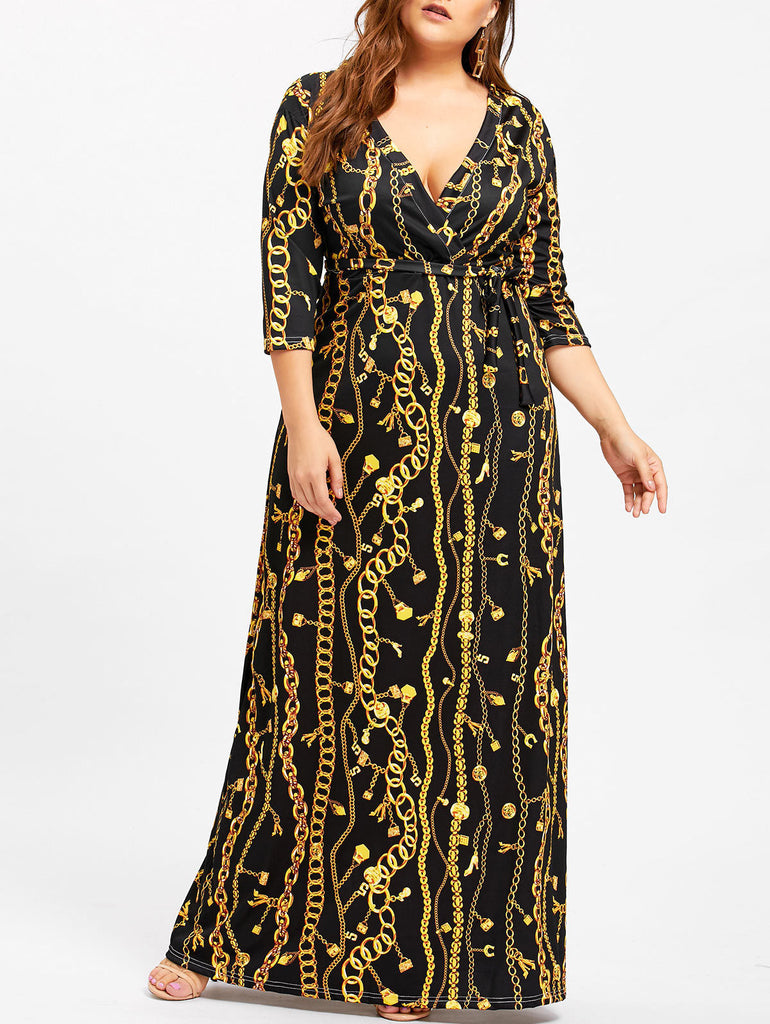 Women Plus Size Dashiki Traditional Graffiti Print Ball Gown Maxi Dress